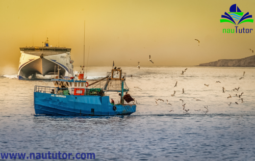 fishing boat with trawls